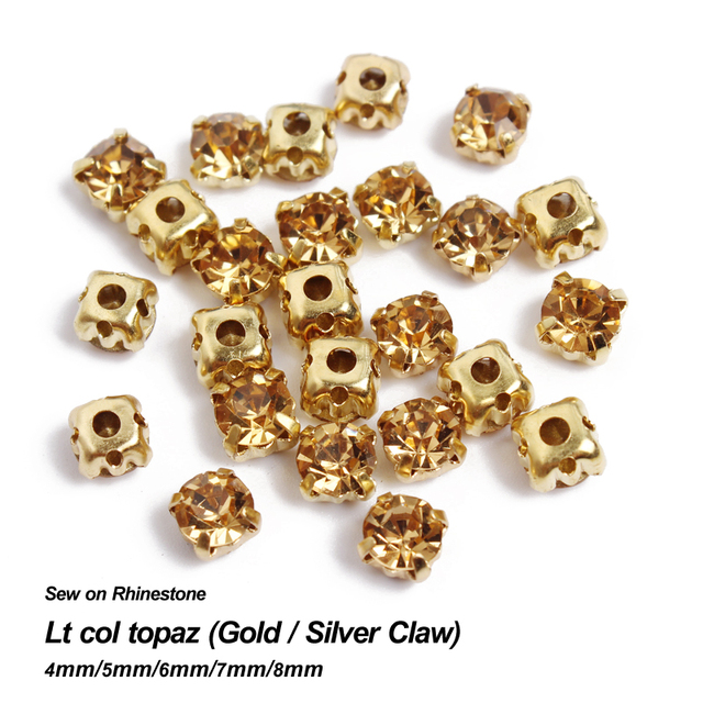 Time-limited New Lt Col Topaz Sew On Rhinestone Gold Silver Claw Base  Strass 4mm 5mm 6mm 7mm 8mm Use For Diy Accessories 6edf71b0111f