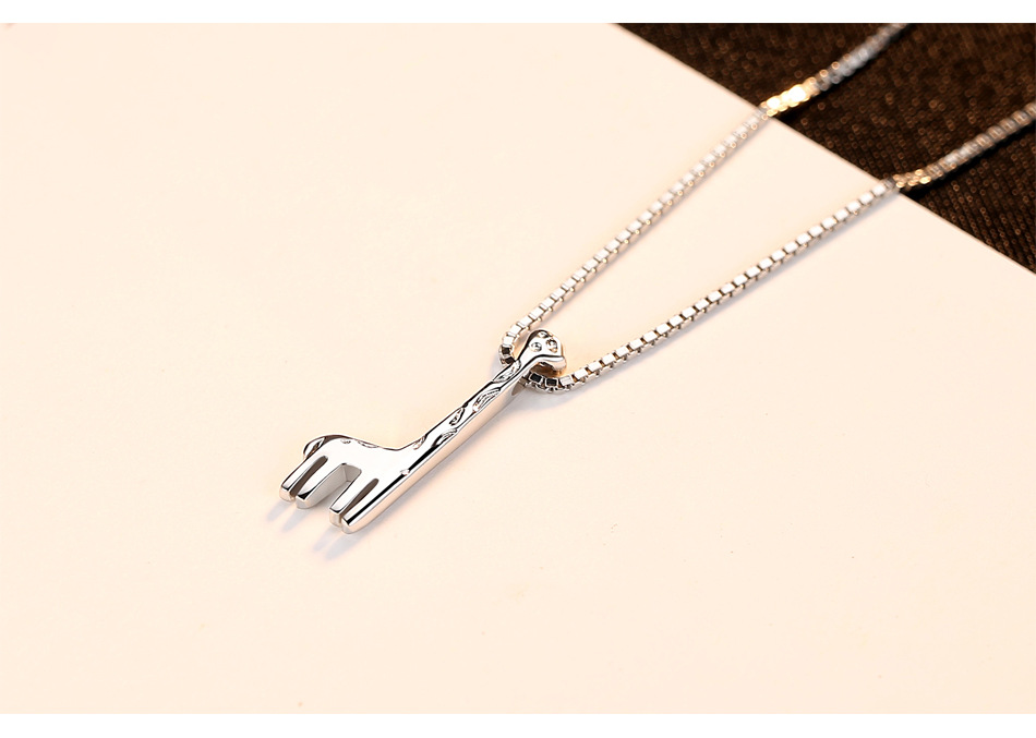 S925 sterling silver necklace pendant simple ladies wild deer necklace jewelry LN08