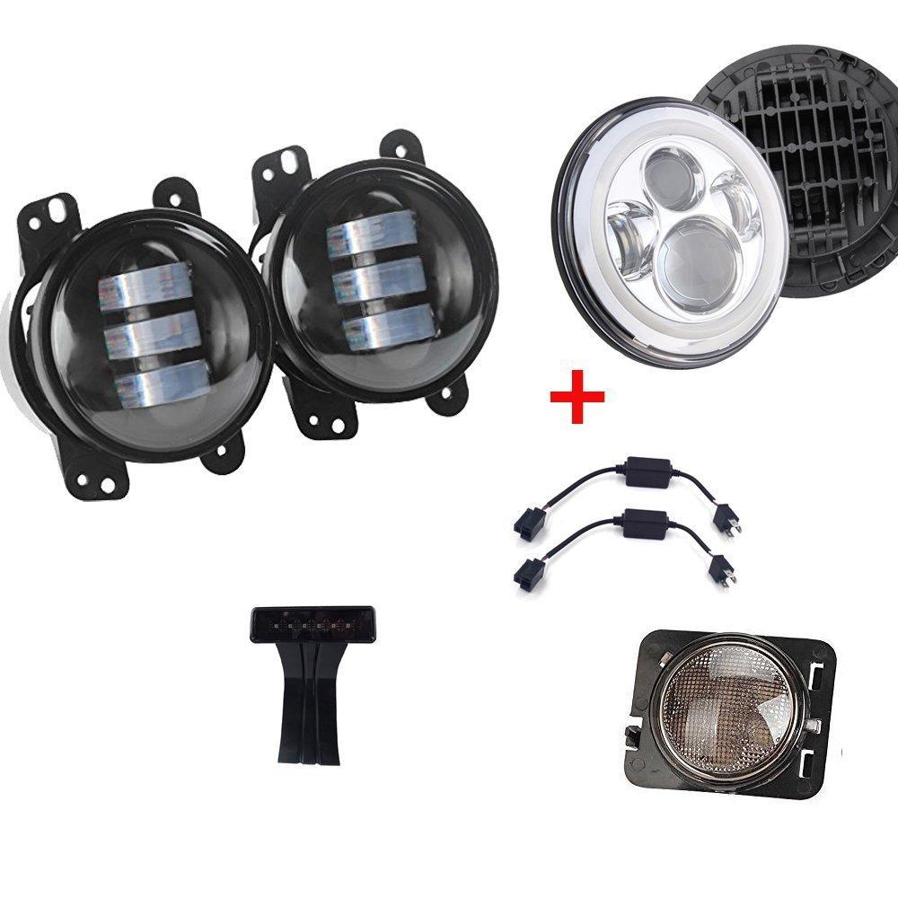 Пара 4 дюймов 30 Вт светодиодный противотуманный фонарь + 7 дюймов хромированный светодиодный проектор moto + светодиодный третий стоп сигнал +