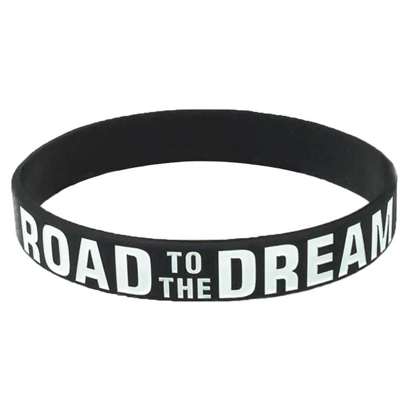 1pc Road To The Dream Silicone Wristband Ink Filled Logo Bracelet Adult Size