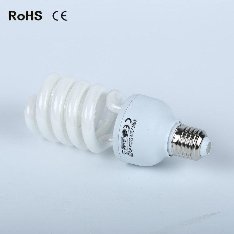 45w 110V-220V 5500K E27 Energy Saving Photography Photo Studio Light Lighting Bulb