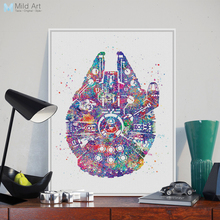 Original Watercolor Star Wars Millennium Ship Pop Movie Poster Prints Abstract Picture A4 Large Wall Art Canvas Painting Gifts