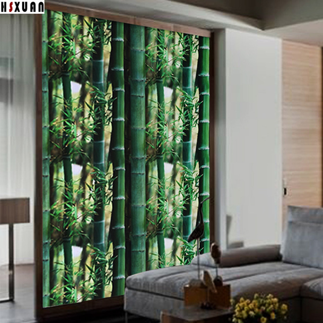 opaque frosted 3d bamboo tint printing sliding door pvc No ...