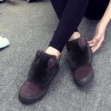 Korean Winter Snow Boots Children Rabbit Ears Flat Cotton Women Shoes Cashmere Casual Shoes Woman Zapatos Mujer X088