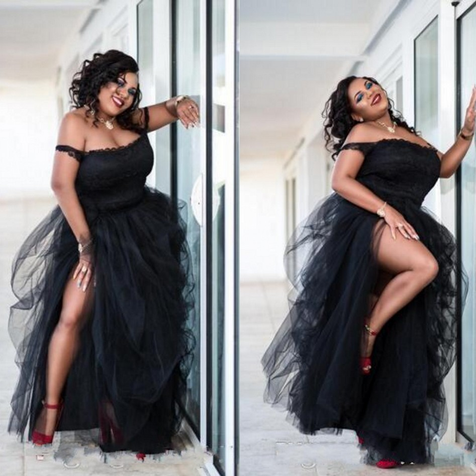 Plus Size Appliques Evening Gowns Black Robe De Soiree Longue Off Shoulder Formal Party Dresses Spaghetti Abiye Vestidos