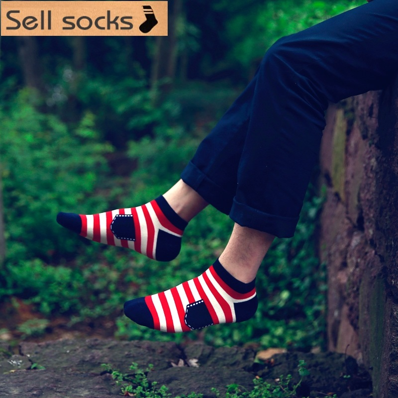 new summer Colorful stripes Patch pockets desgin man Casual ankle cotton socks men boat sock slippers harajuku EUR39-44