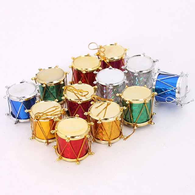2.5cm Mixed Color Tabour Mini Drum Pendant Xmas Festival Christmas ...