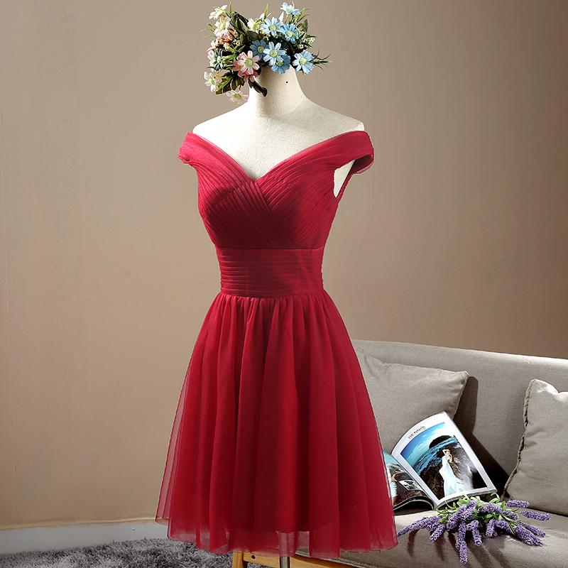 Burgundy Bridesmaid Dress Knee Length Pleat Tulle Simple