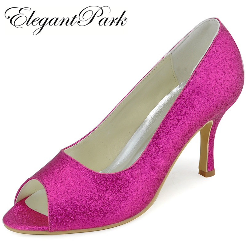 Hot Pink High Heel Women Shoes EP11072 Peep Toe Lady Prom Party Pumps Glitter bride bridesmaid Wedding bridal shoes Silver blue
