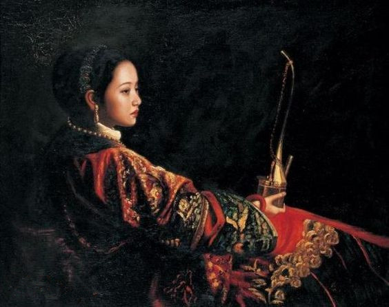 Woman in Qing dynasty Chinese oil paintings by Chen Yifei high quality home decoration