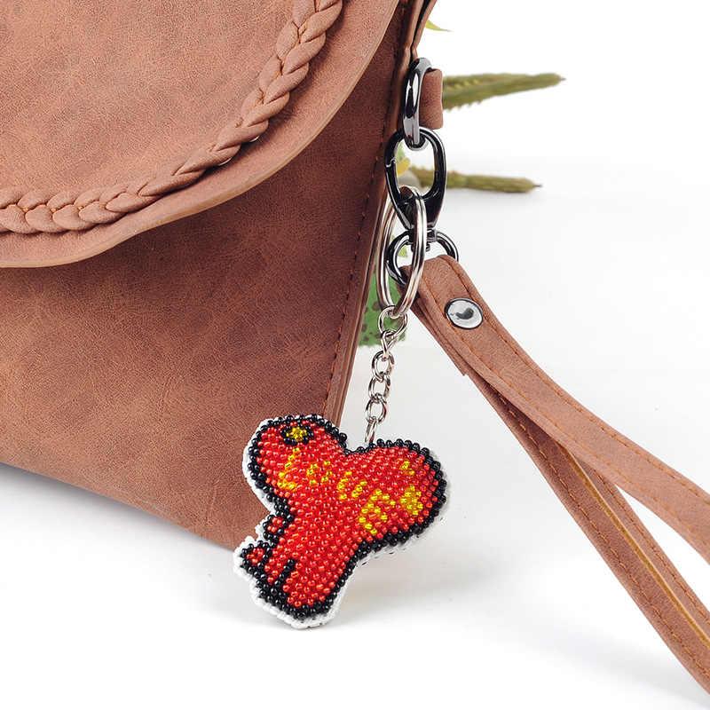 Diy бисер вышитые игрушка для детей и взрослых любовь ключ заблокирован брелок с небольшой решеткой двухсторонняя бусина крест-вышитые Влюбленные