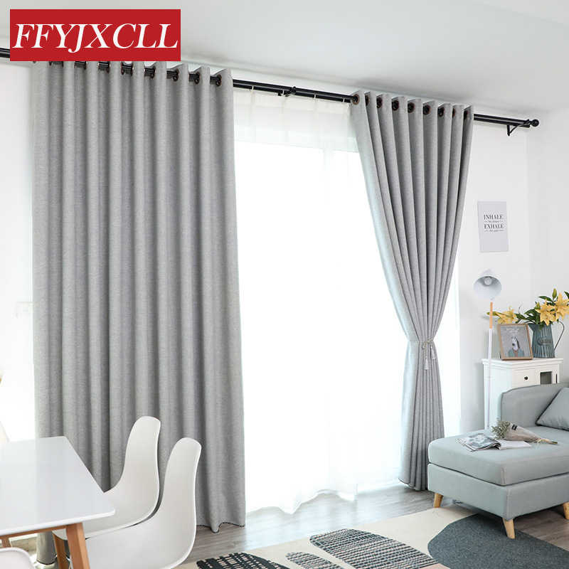 Nordic Modern Polyester Cotton Solid Color Blackout Curtains for Living Room Bedroom Window Gray Curtains for the Bedroom