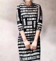 FREE SHIPPING Miyake Fold geometric print O neck sundress three quarter dress IN STOCK