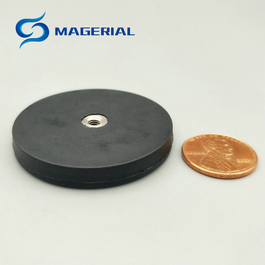 2-4pcs NdFeB Magnet Disc in Rubber Coated Diameter 43/66/88 mm with Female Flat Thread LED Light Holding Strong Neodymium Magnet 2pcs mounting magnetic disc diameter 88 mm led light holding spotlight holder male thread ndfeb magnet strong neodymium magnet