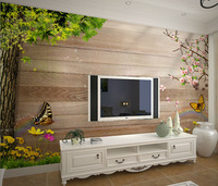 Mural 3d three dimensional large murals tv background 3D wallpaper non woven wood board