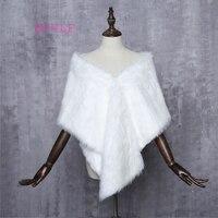 New Bridal Jacket Coat Faux Fur White Wraps Bolero Shrug Wedding Shawls Wraps Wedding Accessories