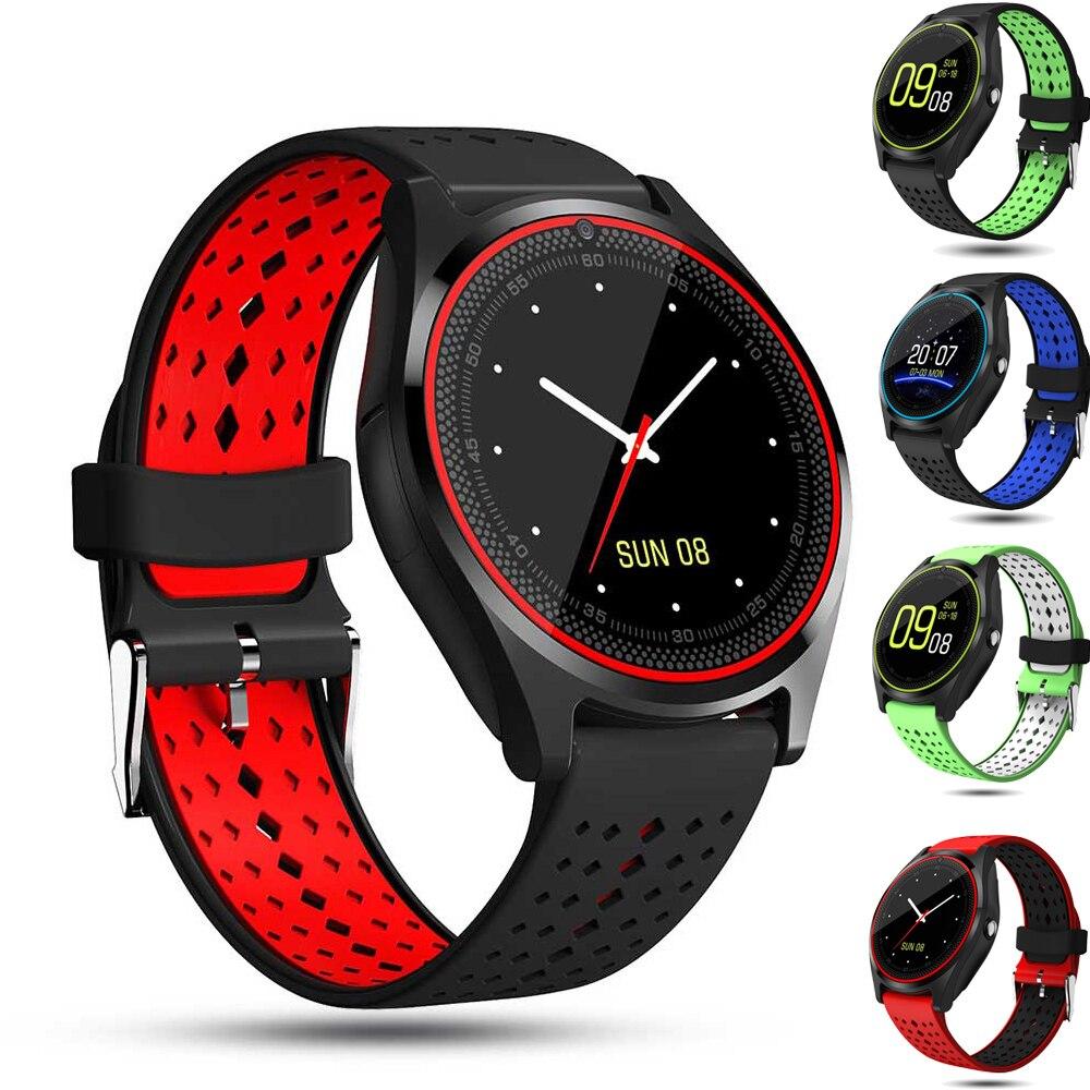 V9 bluetooth relógio inteligente com câmera de fitness rastreador lembrete monitor sono dial/chamada sim tf cartão pulseira pk dz09 a1 gt08