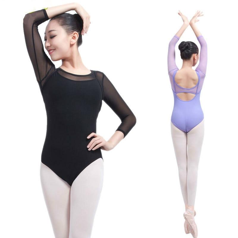 c7066a34222d Women Black Long Sleeve Leotard Sexy Ballet Dancewear Adult Cotton Spandex  Unitard Leotards Bodysuit Gymnastics Costumes