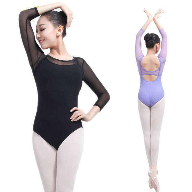 c423ef274f17 Women Black Long Sleeve Leotard Sexy Ballet Dancewear Adult Cotton Spandex Unitard  Leotards Bodysuit Gymnastics Costumes
