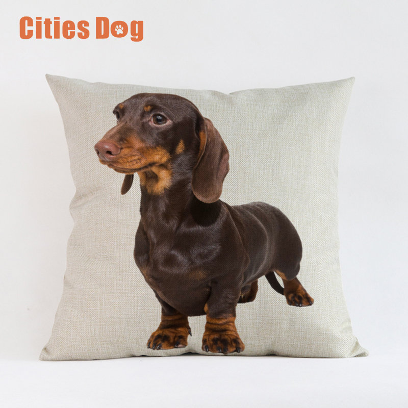 Cute Lovely Animal Dog Decorative Cushion Cover Dachshund Dogs Square Throw Pillow Cover Pillow Case Home Office Car Sofa Decor