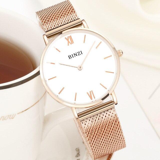 bf766450bf0 BINZI Ultrafinos Mulheres Relógios Quartz Stainless Stell Assistir Mulheres  Senhoras Relógio de Ouro Graça Simples À