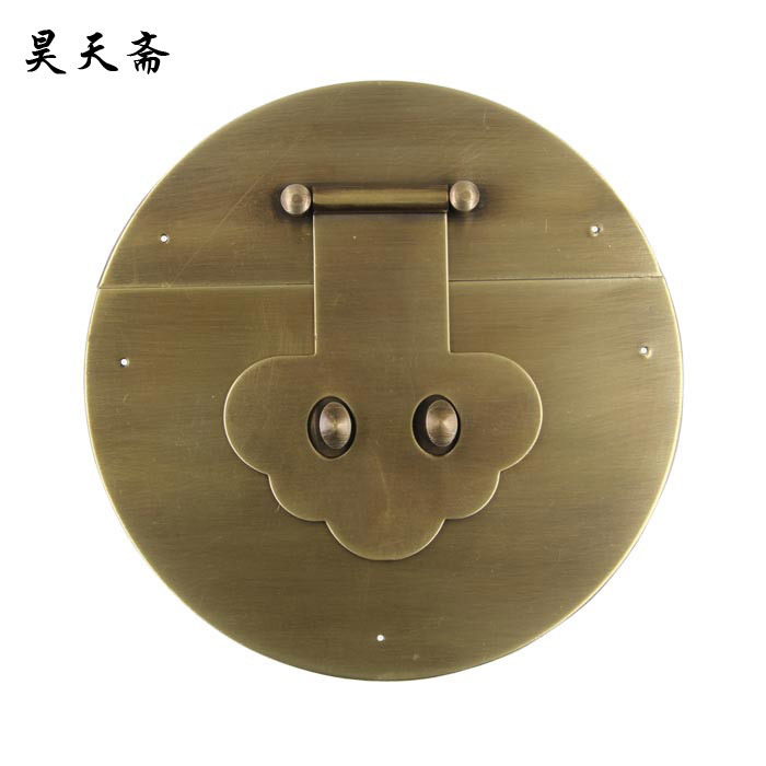 [Haotian vegetarian] Ming and Qing antique copper handle pure copper fittings copper box buckle lock boxes HTN-084 thicker secti купить