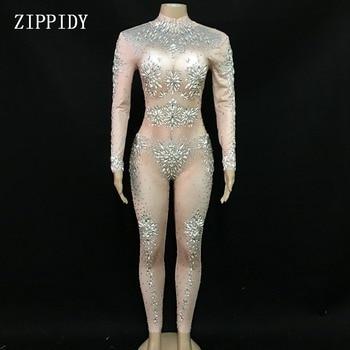 453b4e53bb42 Mono de malla de diamantes de imitación brillante para fiesta de mujer Sexy  disfraz de baile para ...