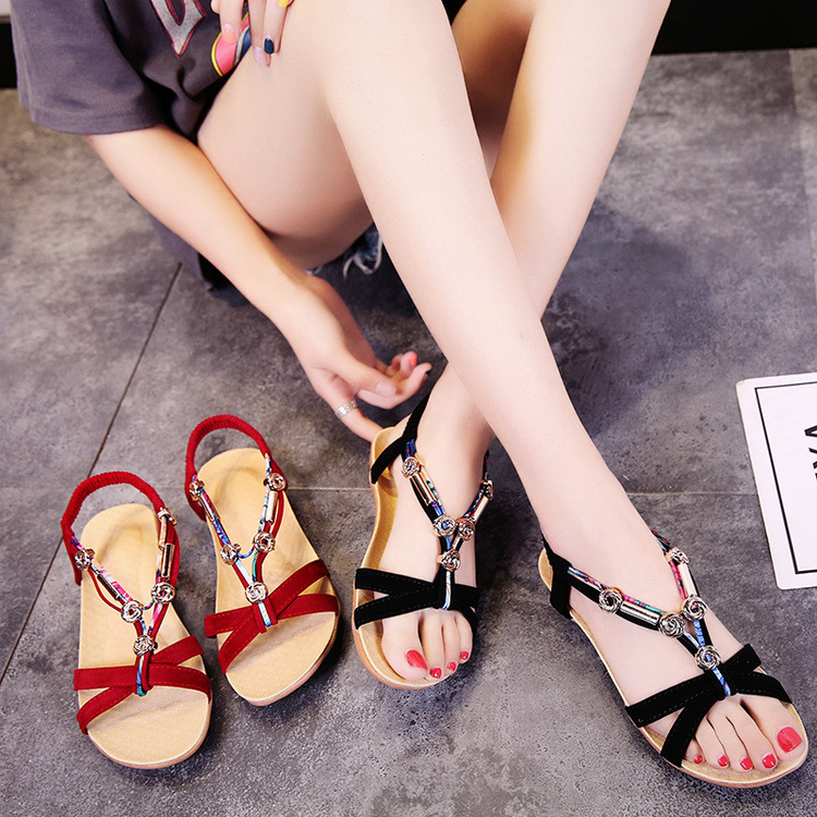Women Summer Sandals Flat Flip Flop Beach Sandals Elastic Band Bead Slide Big Size Bohemia Style Causal Female Shoes Lady