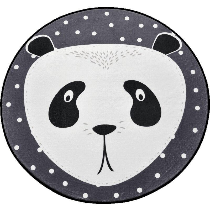 Funny Animal Cartoon Carpet for Children/Kids,Panda/Fox/Bear Gray Round Rugs Super Soft Thicken Non-slip Rug Mat for Livingroom