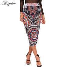 Arigeben Retro Printed Pencil Slim Mid-Calf Femininas Plus Size Catwalk Split Faldas Mujer Slim Hip Summer Skirts Woman Fashion