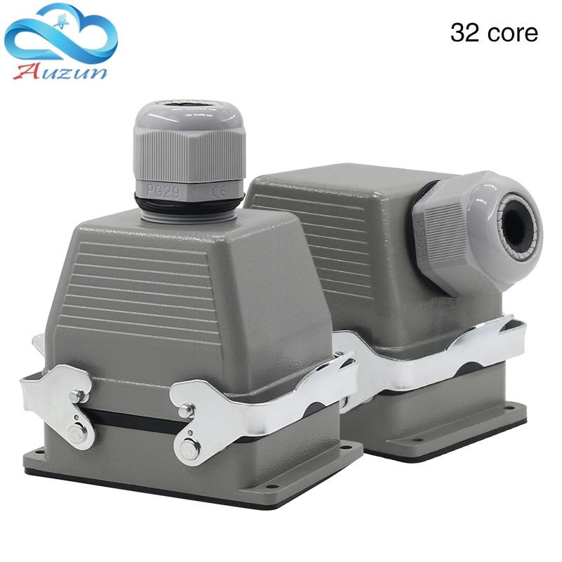 Rechthoekige H32b-he-032-1 Heavy Duty Connector 32 Pin Top Outlet En Side Outlet 500 V Twee Bevestigingsschroeven 16A