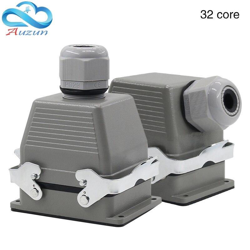 Rettangolare H32b-he-032-1 Heavy Duty Connettore 32 Pin Top Presa E Presa Di Lato 500 V Due Viti Di Fissaggio 16A