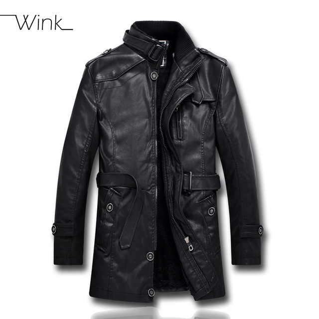 Mens PU Leather Fleece Jacket Motorcycle Men Bomber Coat Padded Stand Collar Cool Fleece Clothing Jaqueta Masculino E449