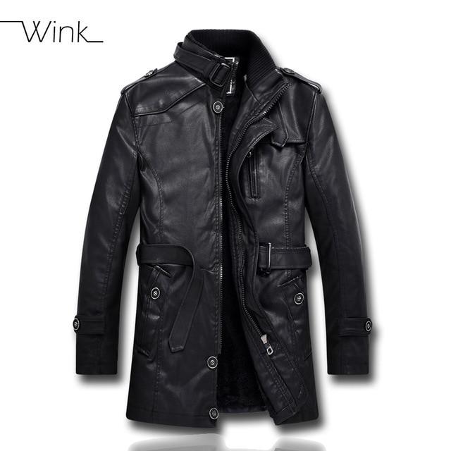 Mens PU Leather Fleece Jacket Motorcycle Men Bomber Coat Padded Stand Collar Cool Fleece Clothing Jaqueta Masculino E449