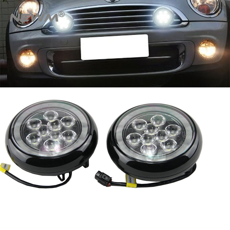 Daytime Running Light Fog Lights For MINI Cooper MINI Cars White Chrome Shell LED Rally Driving position Lights front bumper new led daytime running lights drl with halo ring angel eyes for mini cooper rally driving lights front bumper 6000k 1900lm auto