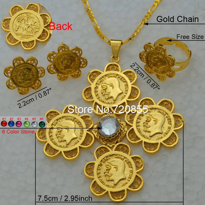 Anniyo Ethiopian set Jewelry Gold Cross Coin Pendant Necklace