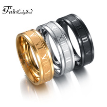 FairLadyHood 8mm 316L Stainless Steel Wedding Band Ring Roman Numerals Gold Black Cool Punk Rings For Men Women Fashion Jewelry стоимость