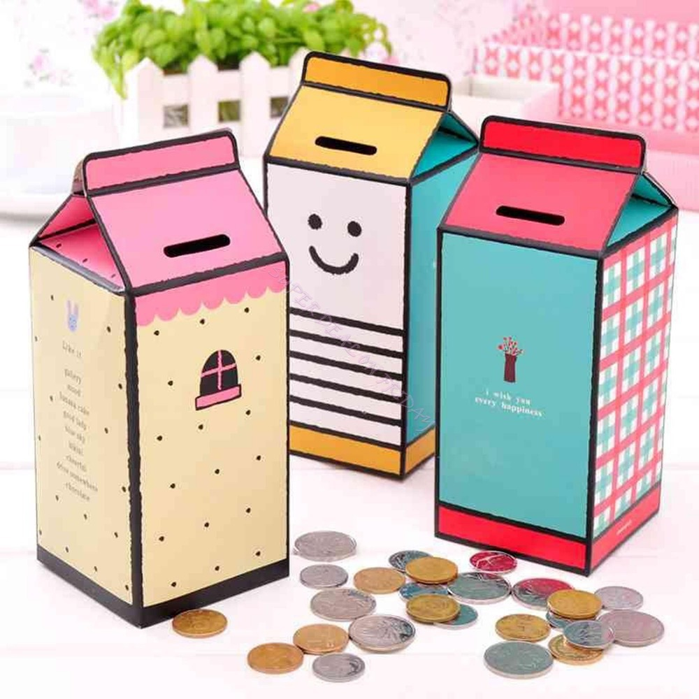 1 x diy mini bank money saving coin container paper for Paper containers diy