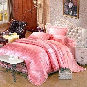 Image 4 - 4pcs Green Jacquard silk bedding set queen king Luxury Satin quilt/duvet/comforter cover bed linen bedclothes set home textile