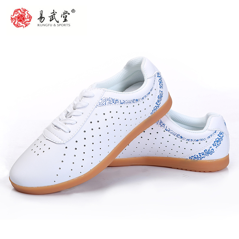 Yiwutang Martial Arts Kung Fu Leather Shoes Tai chi Taolu holes Shoes Wushu Breathable Shoes Rubber