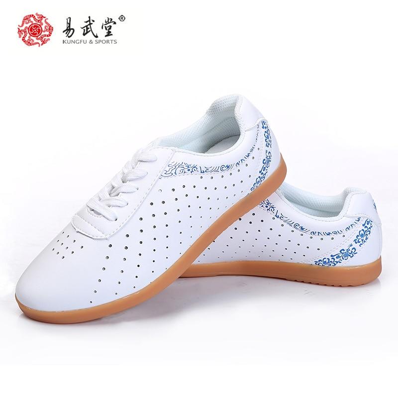 Yiwutang Vechtsporten Kung Fu Lederen Schoenen Tai chi Taolu gaten Schoenen Wushu Ademende Schoenen Rubberen Zolen voor Mannen Vrouwen Zomer