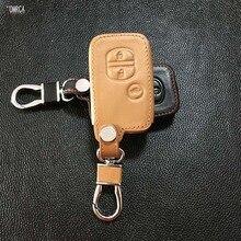 High quality leather key case for Toyota Camry Crown Prado Smart Key Car Leather Remote Control Car Keychain Key Holder 3 button