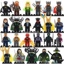 Super Hero Marvel Hela Valkyrie Thor Figure Set Ragnarok Loki Wizard Steward Man Building Blocks Single Sale Toys PG8064
