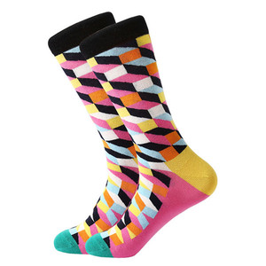 Image 4 - MYORED mens colorful casual dress socks combed cotton striped plaid geometric lattice pattern fashion design high quality