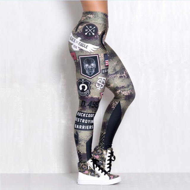 3D Printed Stretchy Lettered Army High Waist Yoga Pants