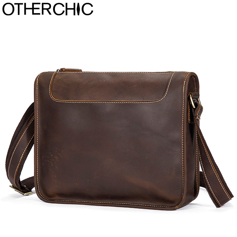 OTHERCHIC Crazy Horse Genuine Leather Bags Men Vintage Quality Messenger Bags Travel Bag Crossbody Shoulder Bag For Men 7N04-38 otherchic 2017 genuine leather men bag high quality messenger bags small travel brown crossbody shoulder bag for men l 7n07 37