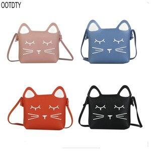 OOTDTY Little Girls Purses Pink Cute Cat Shoulder Crossbody Bag for Kids,Toddler,Girls