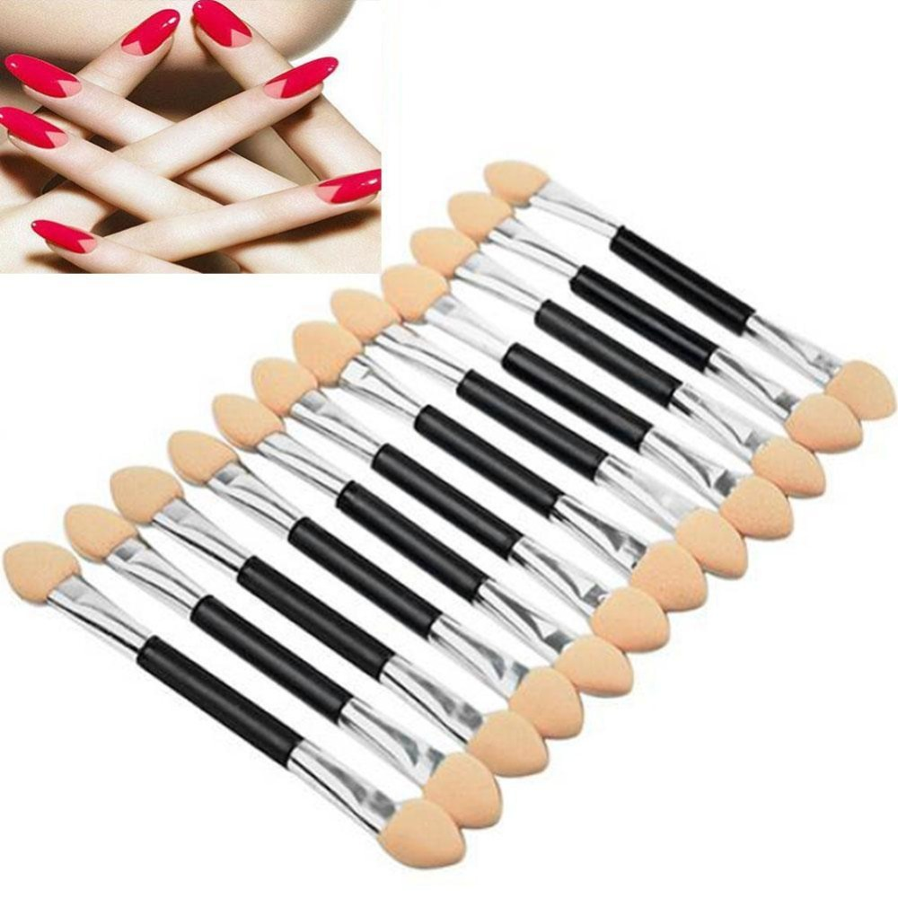 12 Pcs Disposable Eyeshadow Brushes Make Up Dual Sided Sponge Applicator Eye Shadow Brushes Double Ended Eye Shadow Brush Makeup