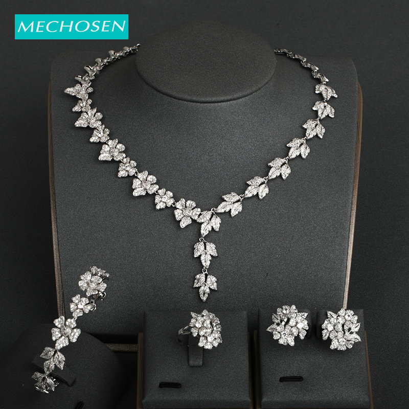MECHOSEN Exquisite Dubai Style Sets Shiny Zircon Flower Shape Copper Jewelry For Women Party Bridal Wedding Bangle Earrings Sets
