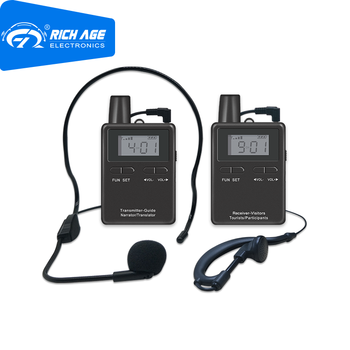 RichiTek Audio Tour Guide System Potable 4 Transmitter+4 Receiver For Tour Guide With Condenser Microphone